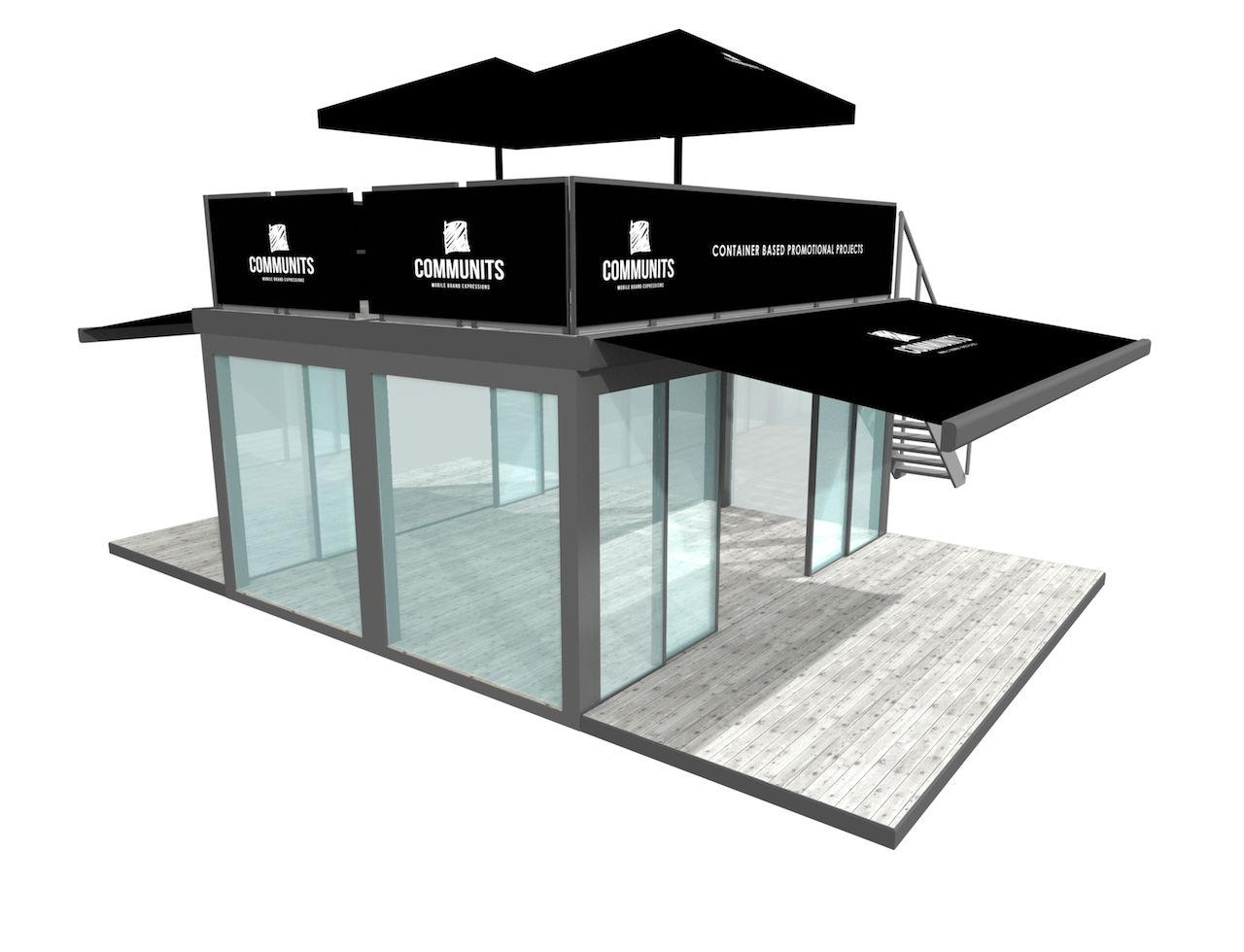 Glazen box Communits Communits eventcontainers popup shops voor evenementen en festivals